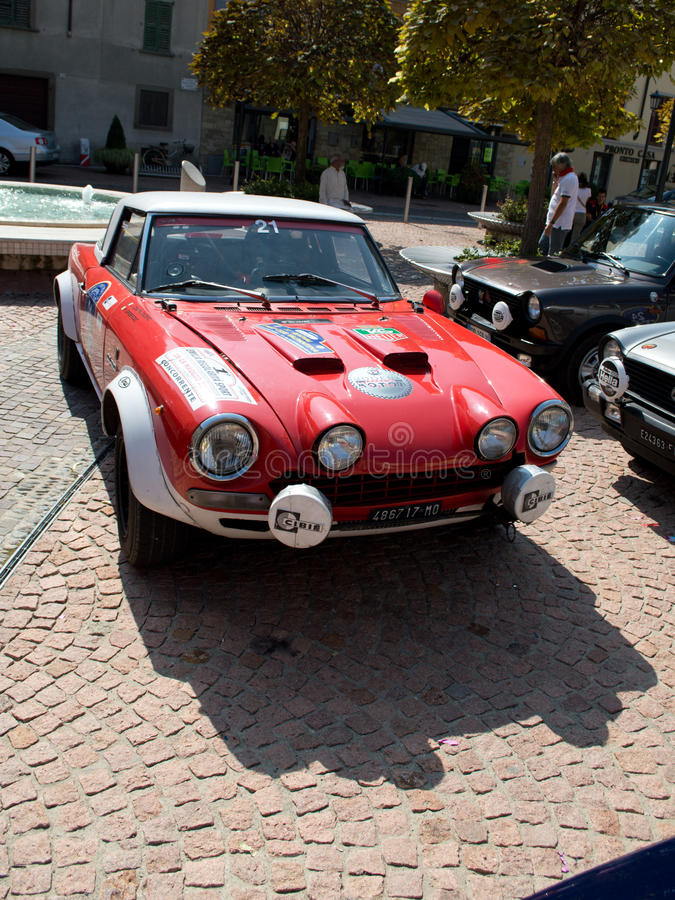 Fiat 124 Abarth at Circuito di Zingonia 2014 royalty free stock image
