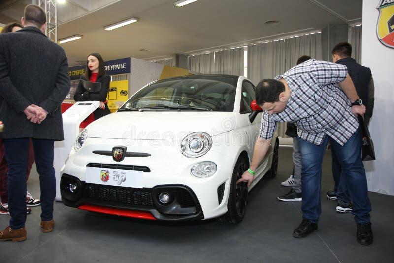 Fiat at Belgrade Car Show. BELGRADE,SERBIA-MARCH 27,2018: Fiat Abarth 595 1.4 T-Jet 180HP at DDOR BG Car Show 06 stock photo
