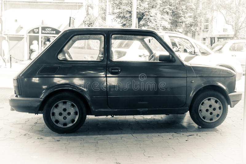 Fiat 126 black and white photography. Fiat 126, captured at Poznan, Poland, black and white photography, split toning stock images