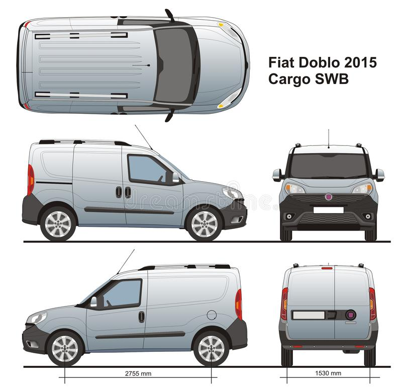 Fiat Doblo-Lading SWB 2015 stock illustratie