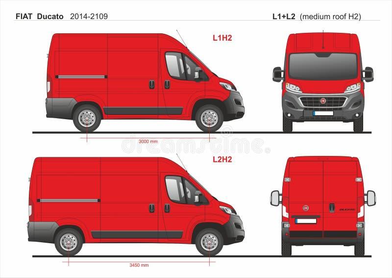 Fiat Ducato ładunek Doręczeniowy Van L1H2 2014-2019 i L2H2 royalty ilustracja