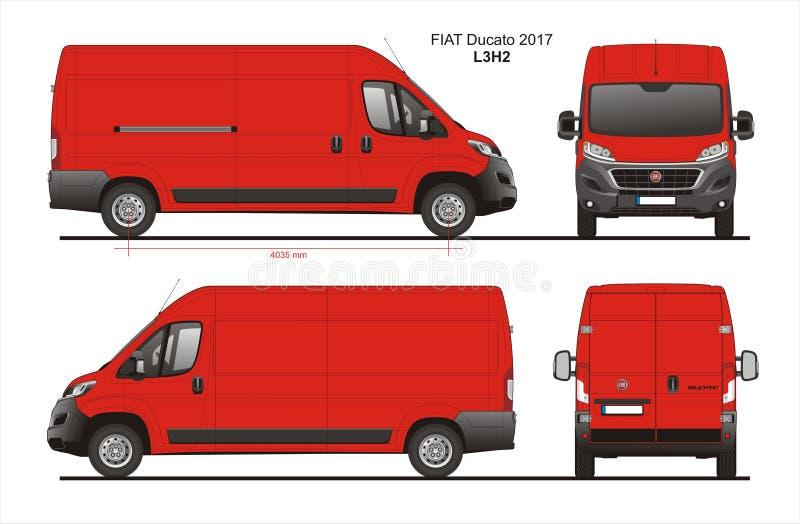Fiat Ducato-de Bestelwagen 2017 L3H2 Blauwdruk van de Ladingslevering royalty-vrije illustratie