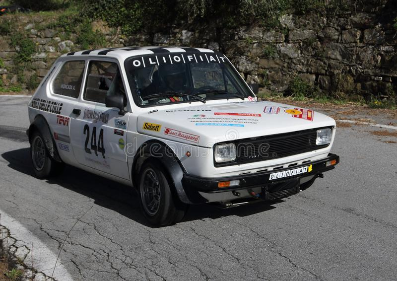 Fiat 127 historic race car during the race. Fiat 127 historic race car during the 65th Sanremo Rally that took place in the Ligurian hinterland on April 13th stock image