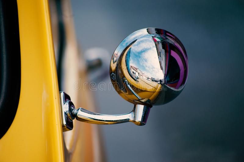 Fiat 500 miror close-up view stock photo