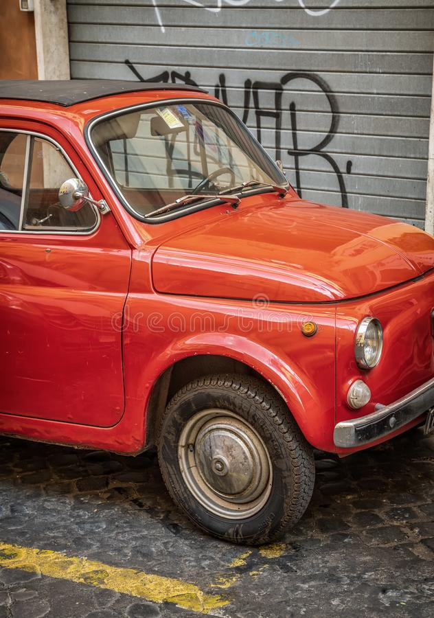 Fiat 500 in Rome, Italy royalty free stock images