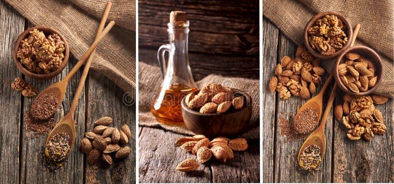 Fiax, seme di zucca, girasole e sesamo su fondo di legno Composizioni matte Noci e mandorle accumulazione - Immagine fotografie stock libere da diritti