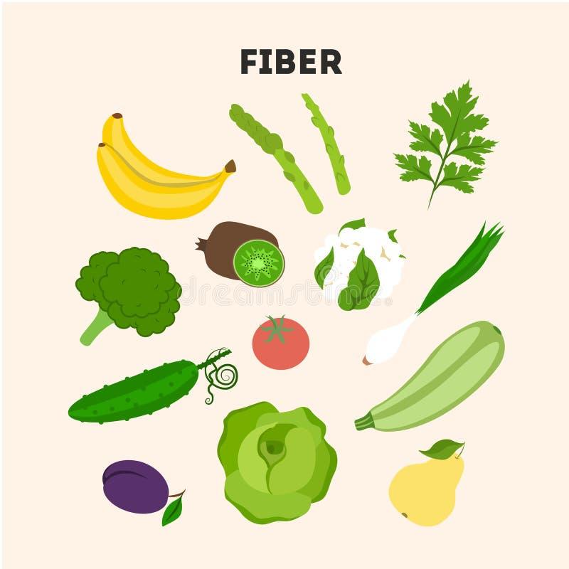 Fiber foods set. stock illustration