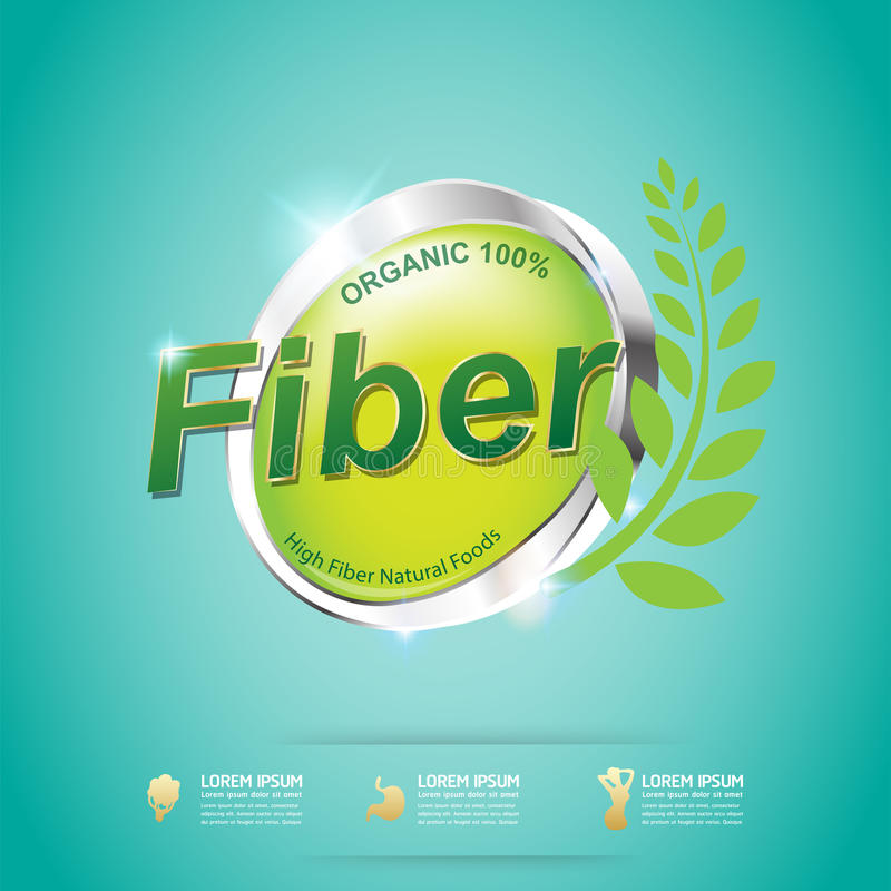 Fiber in Foods Slim Shape and Vitamin Concept Label Vector royalty free illustration
