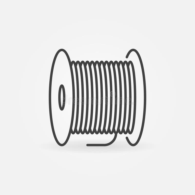 Fiber optic cable bobbin vector concept linear icon stock illustration