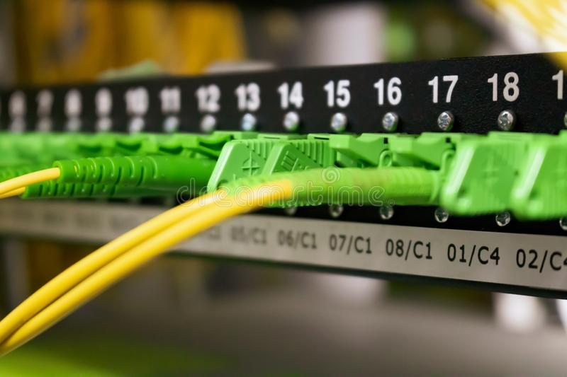 Fiber optic cables, internet, communication, network royalty free stock image