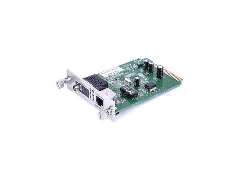 Fiber optic Media converter with metalic RJ45 connector and FC f royalty free stock images