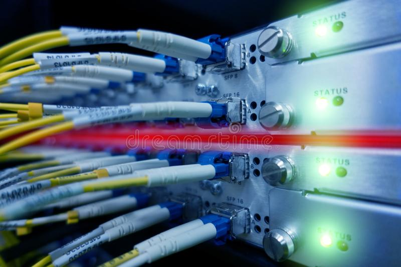 Fiber Optical connect to interface. Telecommunication Cables Connected Working Switch In Data Center. Close up. Green Leds Blink. stock photo