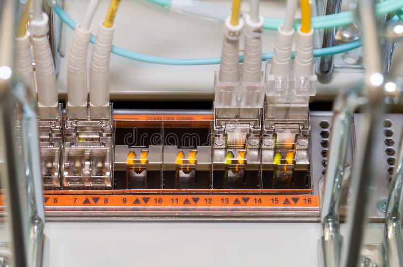 Fiber optical connecting to a Cloud Server royalty free stock image