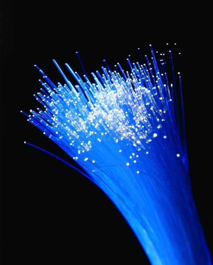 Fiber Optics. Fiber optic strands bundled together with white light at ends