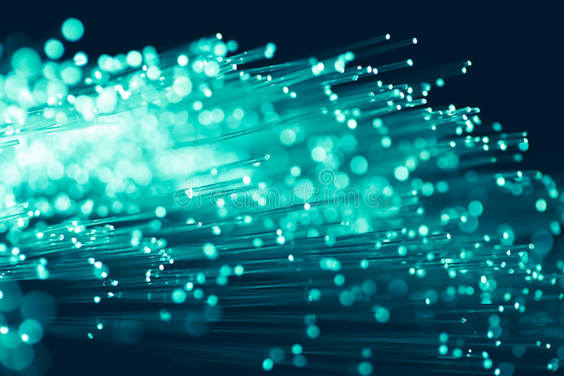 Fiber optics threads. In emerald color stock photo