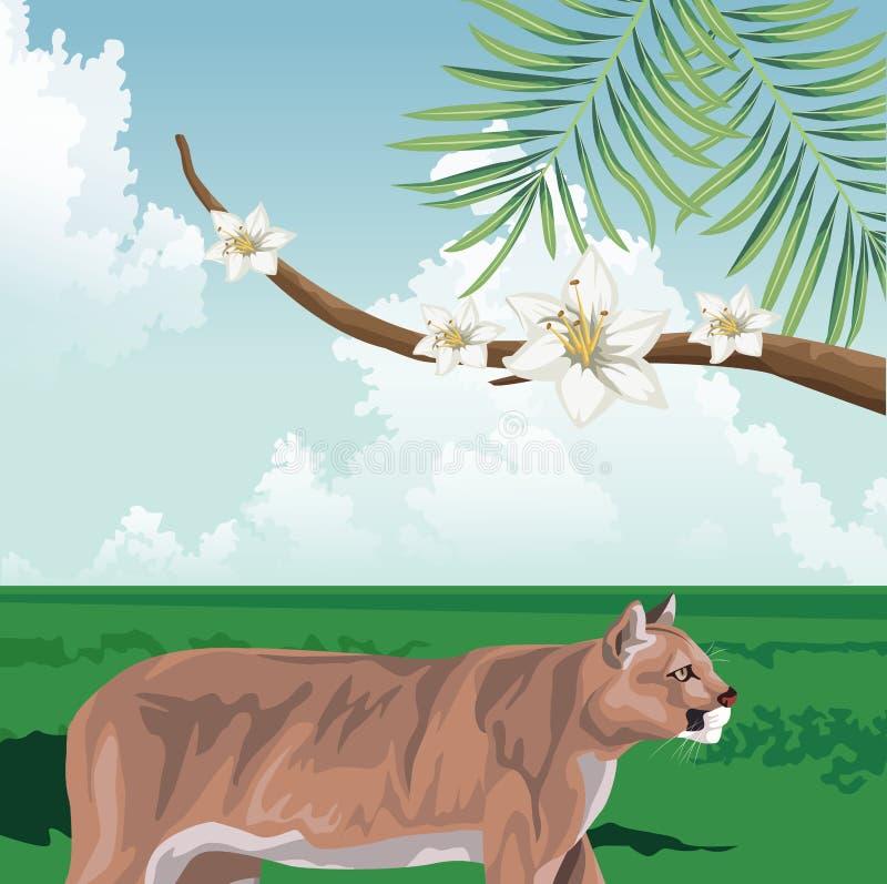 Fibergren med blommor i tropiska fauna och flora stock illustrationer