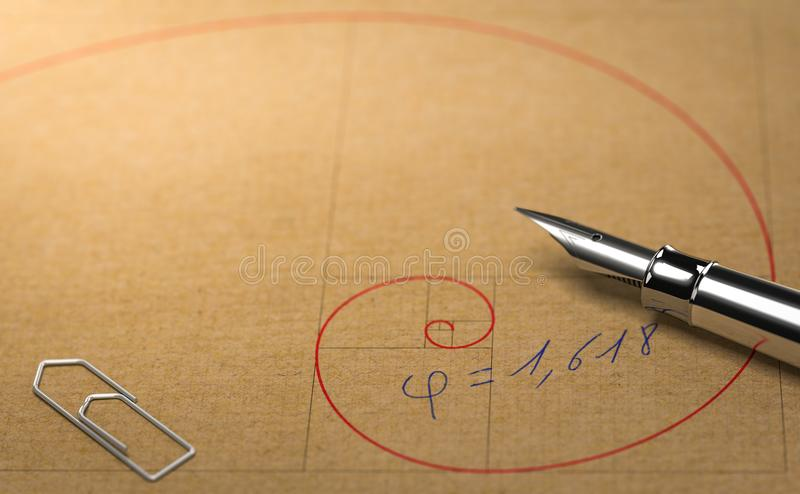 Fibonacci, Divine Proportion and Golden Ratio. Mathematics Concept. Close up of Fibonacci spiral over paper background with office supply. Concept of golden royalty free illustration