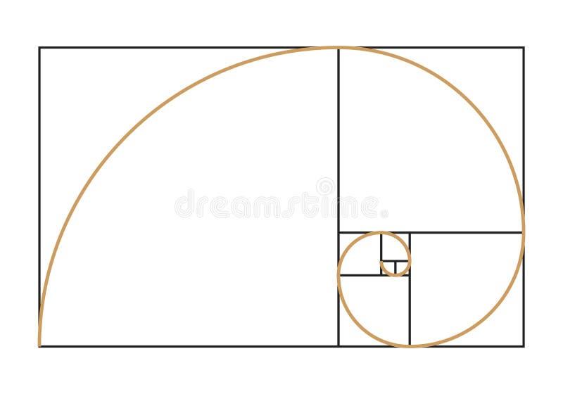 Fibonacci spiral symbol. Golden ratio graph isolated on white background. Vector illustration vector illustration