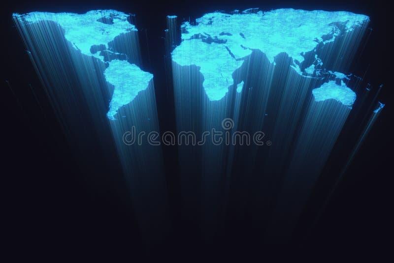 Fibra óptica del mapa del mundo ilustración del vector