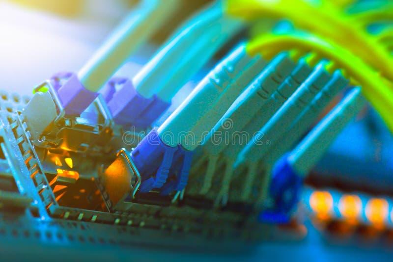 Fibra óptica que conecta en swtich de la red de la base imagen de archivo libre de regalías
