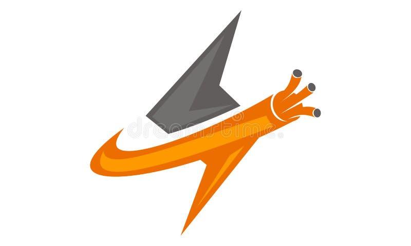 Fibra ótica Logo Design Template ilustração stock