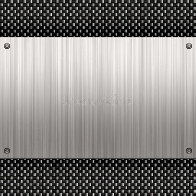 Fibra del carbonio di piastra metallica illustrazione di stock