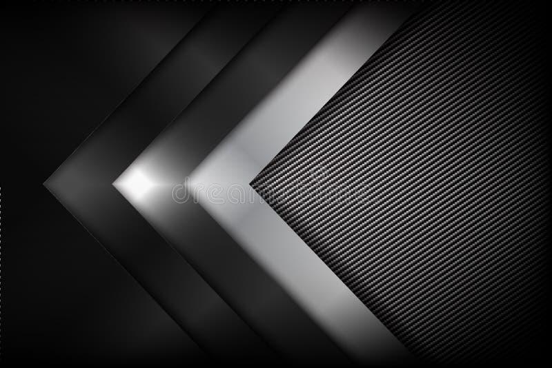 Fibra escura e preta do fundo abstrato do carbono com curva ilustração royalty free