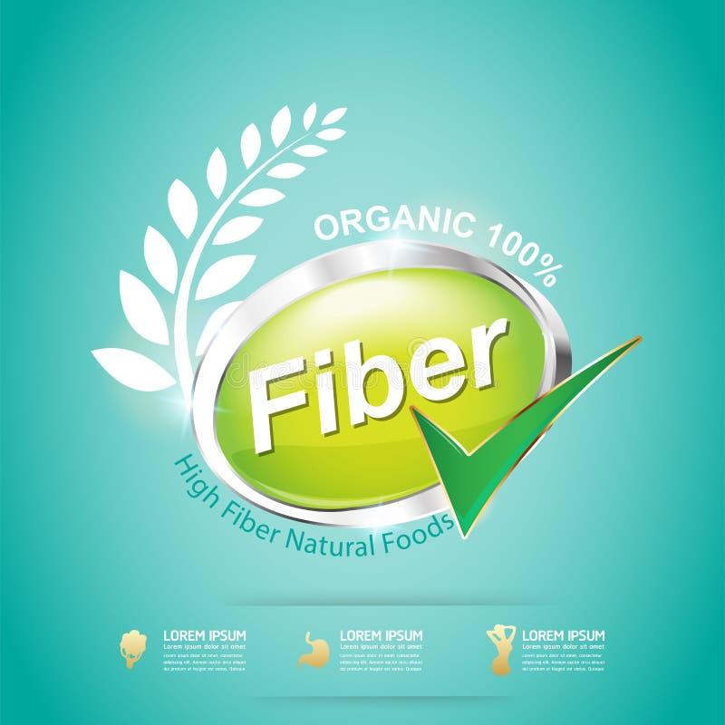 Fibra nos alimentos vetor magro da etiqueta da forma e do conceito da vitamina ilustração do vetor