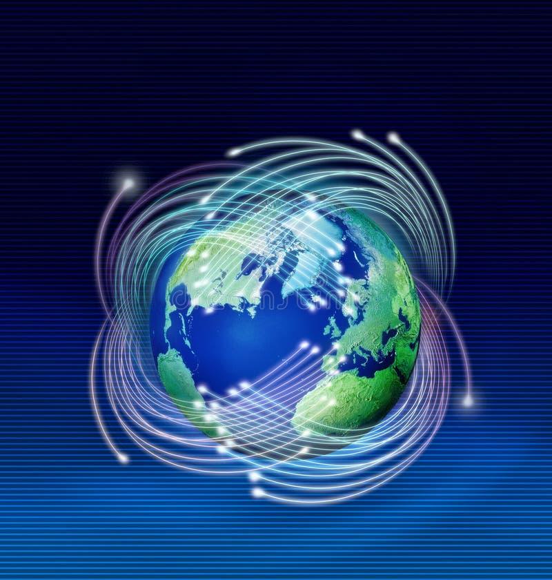 Fibras ópticas alrededor de la tierra del planeta ilustración del vector