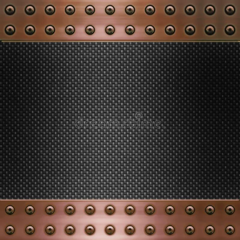 Fibre de carbone et fond d'en cuivre illustration libre de droits