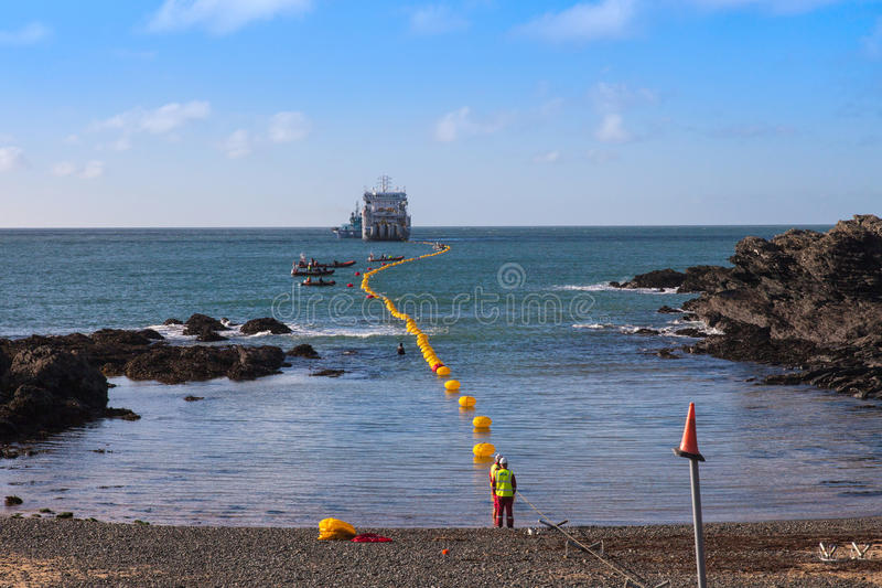 Fibre Optic cable coming ashore. On the Isle of Anglesey Nortn Wales stock photography
