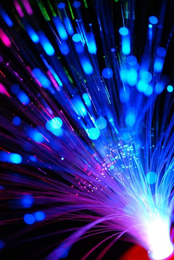Fibre optics. Bunch of red blue green fibre optics
