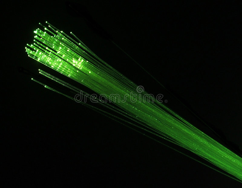 Fibre optics green stock images