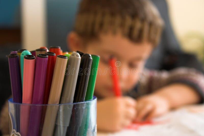 Fibre pens. Close up fibre pens and kid stock image