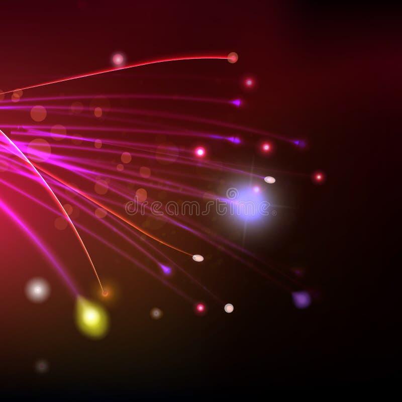 Fibres abstraites au fond rouge de l'espace illustration de vecteur