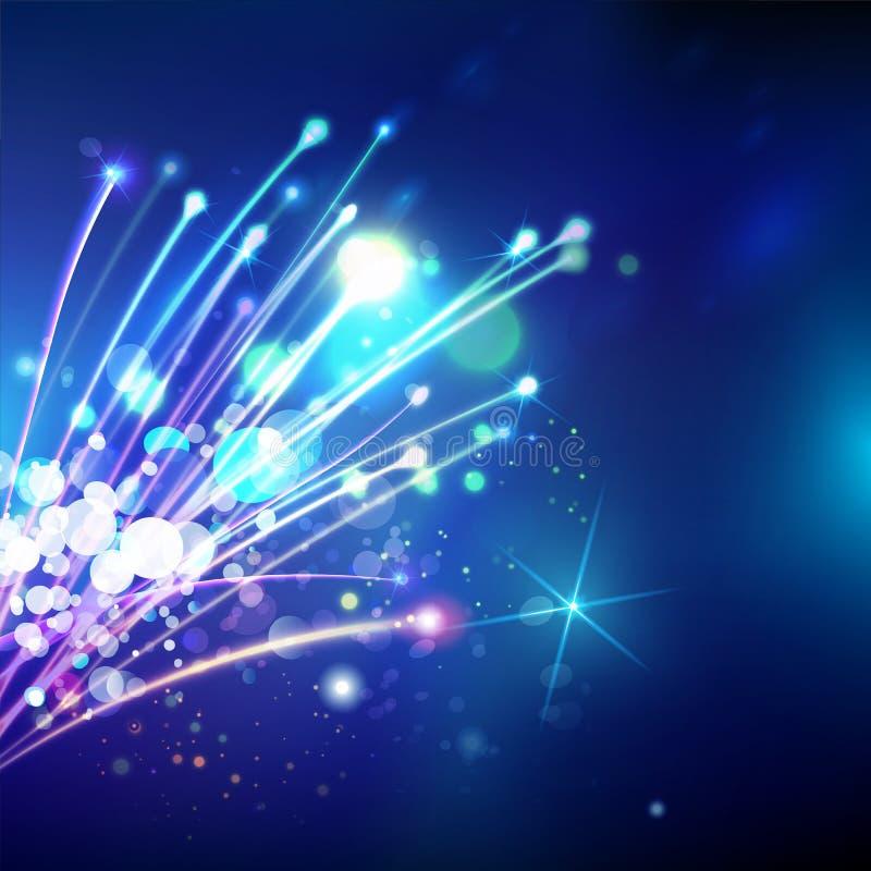 Fibres optiques abstraites au fond bleu de l'espace illustration de vecteur