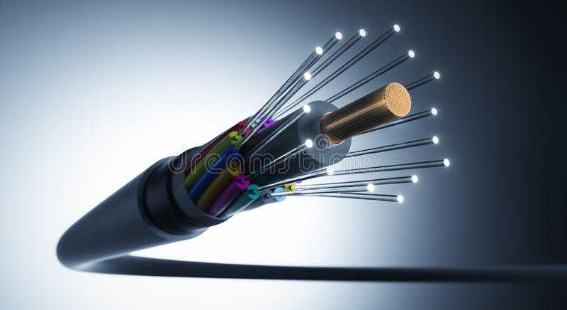 Fibres optiques empaquetées à un câble - illustration 3D illustration stock