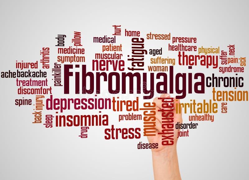 Fibromyalgiaordmoln och hand med markörbegrepp arkivbild