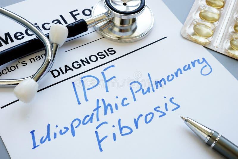 Fibrosis pulmonar idiopática de la diagnosis IPF foto de archivo