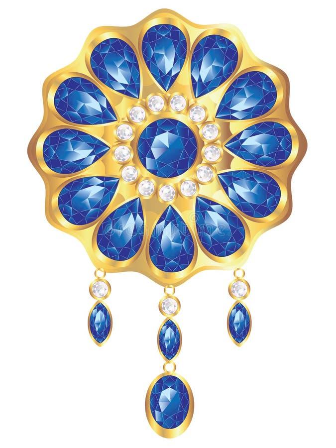 Fibula con la perla e lo zaffiro royalty illustrazione gratis