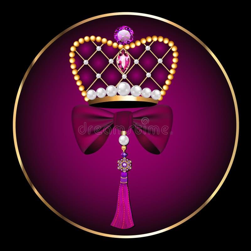 fibula d'annata sotto forma di corona con un arco e una spazzola illustrazione vettoriale