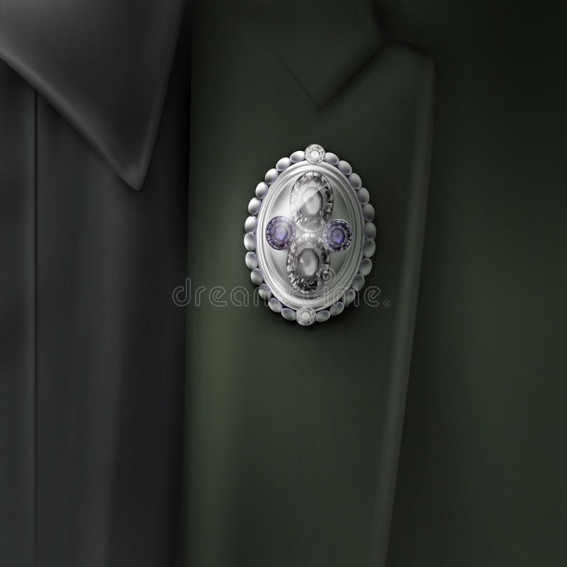 Fibula d'argento di vettore illustrazione di stock