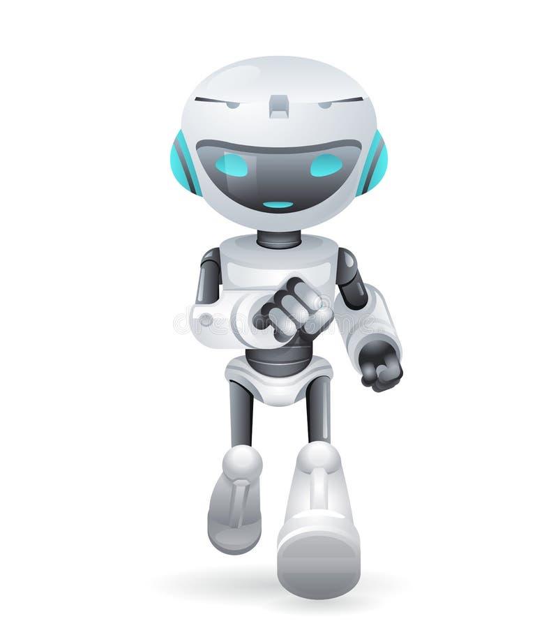 Ficção científica bonito running da tecnologia da inovação do robô futura pouca ilustração do vetor da cenografia dos ícones 3d ilustração stock
