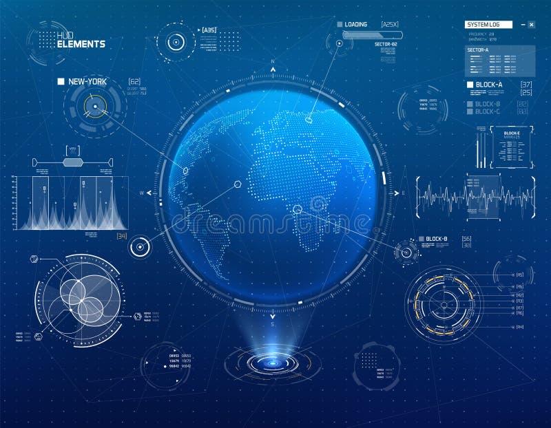 Ficção científica futurista HUD Elements Set ilustração stock