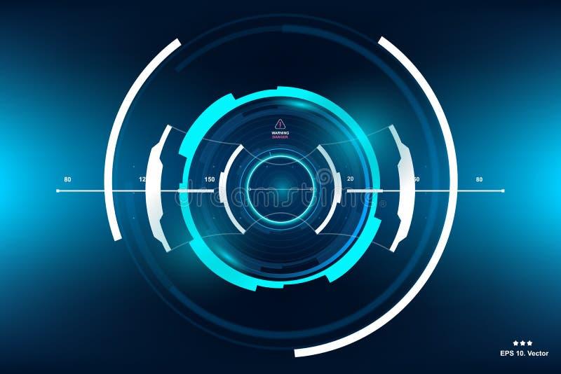 Ficção científica HUD Dashboard Display futurista Tela da tecnologia da realidade de Vitrual ilustração royalty free