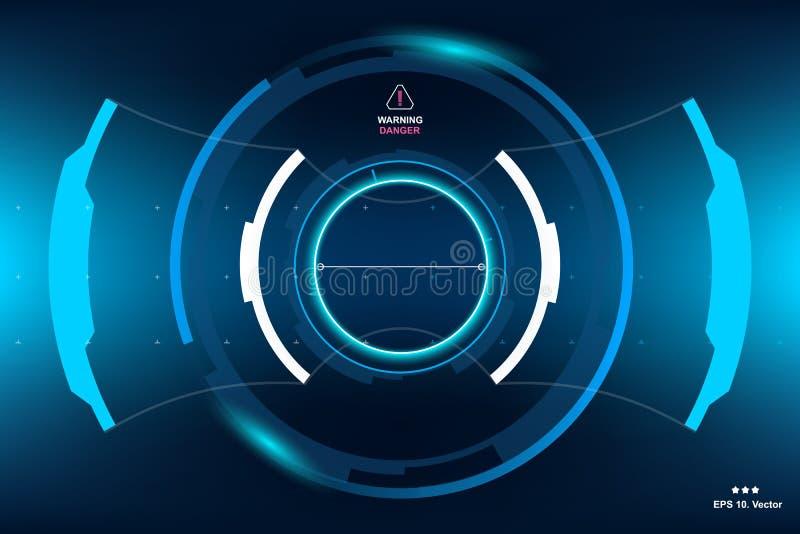 Ficção científica HUD Dashboard Display futurista Tela da tecnologia da realidade de Vitrual ilustração stock