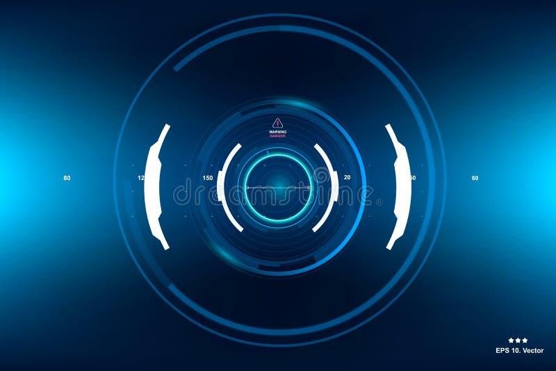 Ficção científica HUD Dashboard Display futurista Tela da tecnologia da realidade de Vitrual ilustração do vetor