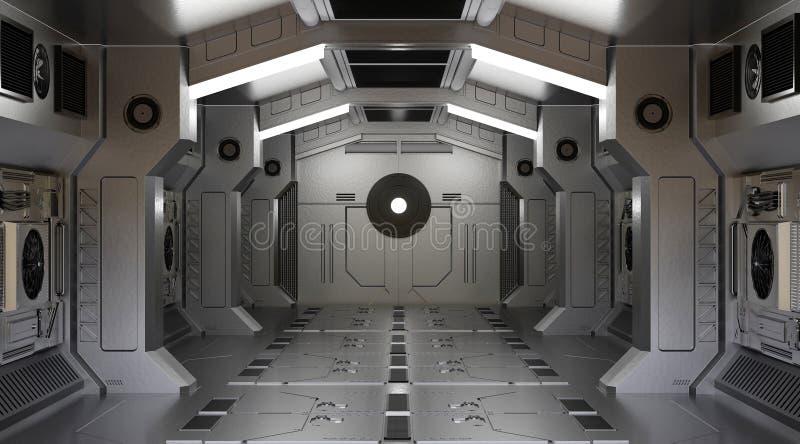 Ficção científica interior da nave espacial do túnel ilustração royalty free