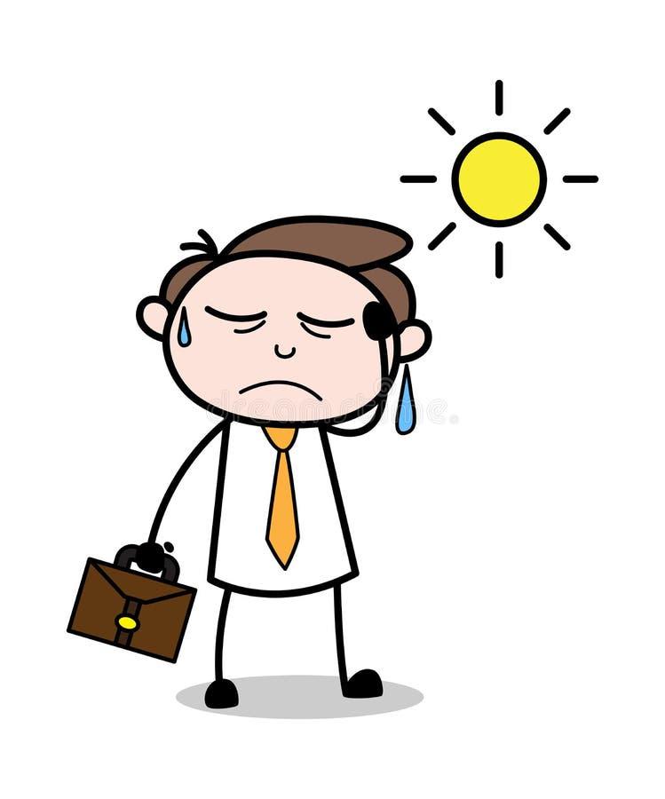 Ficar cansado no verão - ilustração de Employee Cartoon Vetora do homem de negócios do escritório ilustração stock