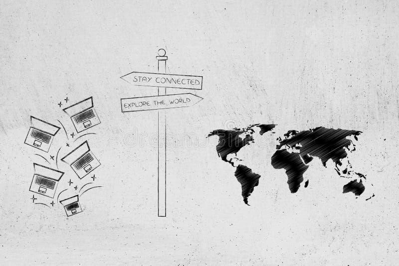 Ficar conectado ou explore o sinal de estrada do mundo com portáteis e m ilustração royalty free